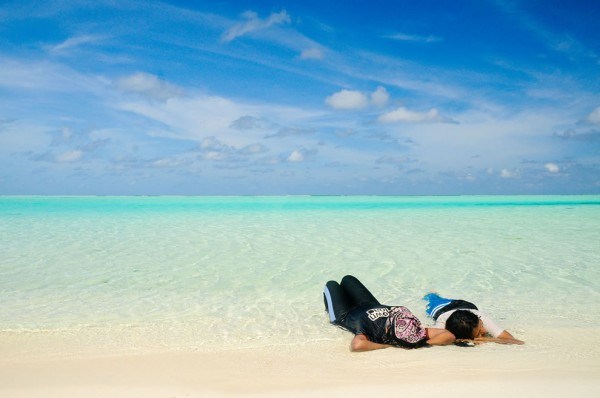 white sand and warm water of the Maldives